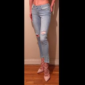 Zara basic Z1975 denim ripped mid rise, size 2